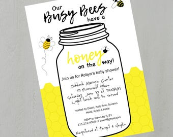 Honey Bee Baby Shower Invite DIY Digital Personalized Printable PDF or JPEG Yellow Honeycomb Mason Jar
