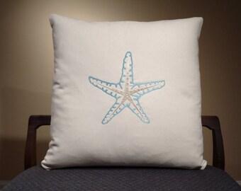 Blue Starfish Pillow, Throw Pillow Cover, Blue Ocean Decor, Beach Decor, Housewarming Gift, Sea Life Pillow, Nautical Decor
