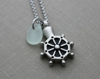 Ships Wheel Cremation Urn Pendant - Stainless Steel with Genuine Sea Glass  Personalized beach memorial Charm Memorial for Beach Lover Helm