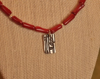 Red coral necklace with fine silver pendant (bamboo imprint)