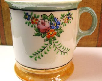 Vintage Made in Japan shaving mug iridescent floral design