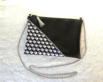 Silver faux leather black/chain shoulder clutch bag