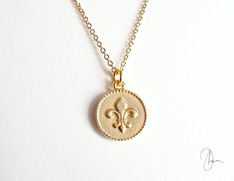 Gold fleur de lis necklace bridesmaid gift minimalist zoom aloadofball Images