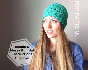 CROCHET PATTERN - Pretty Petals Messy Bun, Lacey Messy Bun Beanie Pattern, Ponytail Hat Pattern, Crochet, Messy Bun Crochet, Crochet Mes