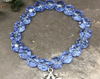 9mm Blue Faceted Glass Beads/Antique Silver Lotus Charm/Flower Charm/Yoga Charms/Boho Jewelry/Stretch Bracelet/Jewelry/Handmade/Gift