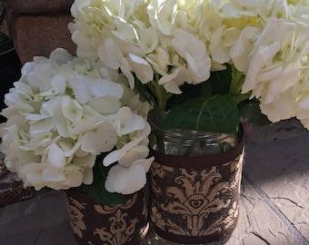 Mason Jar Wrap, Damask Print, Jar Decoration, Shower, Party, Wedding, Centerpiece, Decoration