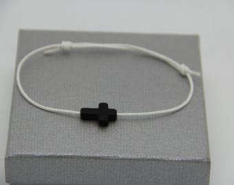 mens black cross with adjustable cord bracelet