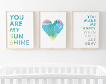 You Are My Sunshine, You Make Me Happy When Skies Are Gray, Watercolor Heart - Set of Nursery Prints, 8X10 Printable for Nursery,