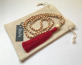 Mala Beads - Mala Necklace - 108 Mala Beads - Mala - Yoga Necklace - Meditation Beads - Prayer Beads - hand knotted  Mala - Red Tassel Mala