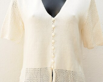 Vintage ecru cardigan Size 38-40 FR