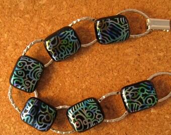 Dichroic Glass Bracelet Link Bracelet Fused Glass Bracelet Glass Jewelry