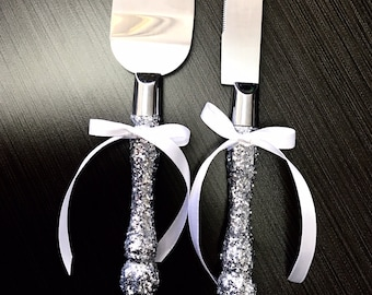 Silver wedding cake knife and server set- FREE shipping , wedding cake topper, wedding decorations, bridal shower gift, wedding accessories