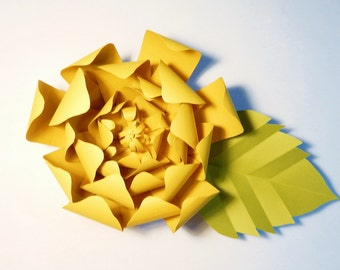Large Paper Flower, Yellow, Wall Decor, Event Decor