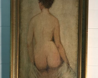Oil on panel, naked woman