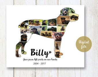 Rottweiler Collage gift - Pet Memorial Pet Loss  - Any dog breed Photo Collage wall art poster sign gift - DIGITAL FILE!