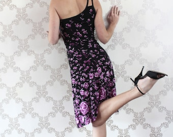 One shoulder black tango dress with purple roses