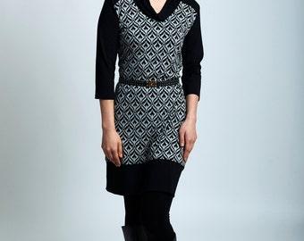 Talia dress - geometric print long dress with bamboo cowl, 3/4 sleeves and band