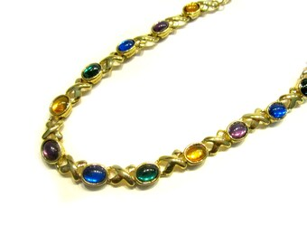 "Vintage Avon Glass Necklace Colorful Blue Purple Green Xs Jewelry Gold Gift for Her under 15 Gift Idea 16"" 19"" Like New"