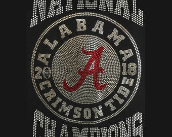 Alabama Crimson Tide National Champions Bling Custom Design on Black T-Shirts and Sweat Shirts by Blingcons, Sizes Small - 5XL