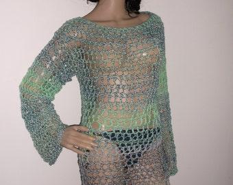 Crochet Beach Dress, Festival Dress, Loose Fitting Crochet Top, Crochet Long Sleeve Dress, bikini cover-up, beach wear, summer dress