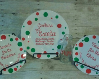 Santa cookie plate with milk glass and reindeer food plate santa plate cookies for & Santa cookie plate with milk glass santa plate cookies for