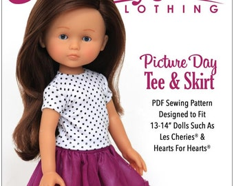 Pixie Faire Liberty Jane Picture Day Tee and Skirt Doll Clothes Pattern for 14 inch Hearts for Hearts and Les Cheries Dolls - PDF