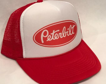 Peterbilt Red Trucker Hat Semi Truck Big Rig Vintage SnapBack Cap