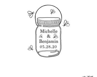 Wedding - Gift - Personalized Custom Rubber Stamp or Self Inking - Summer Mason Jar Firefly By Favor Bag Wedding Save Date Stamp -