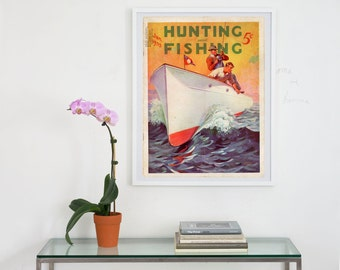 hunting and fishing magazine cover art, hunting magazine cover art  archival print, vintage hunting and fishing magazine , cover art, art