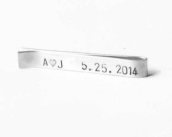 Personalized tie bar for him wedding date Sterling silver tie clip custom tie bar hidden message tie bar gift for him groom or husband