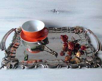 Vintage tray,salver,vintage old tray, food tray salver for coffee,vintage tray,metal tray retro