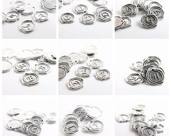 Oxidized Silver Base Metal Charms-Wax Seal-Letter-Alphabet - Full Set of Letter - 19mm (15706Y)