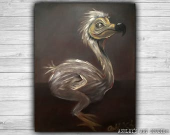 "Dodo Bird Painting - JubJub Bird Alice In Wonderland - Original Oil Painting 11"" x 14"" - Hand Painted Jabberwocky"