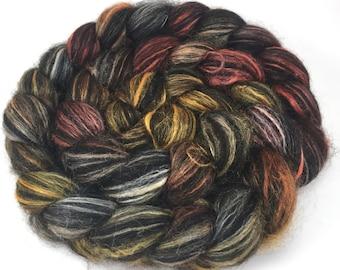 Spinning Fiber - Alpaca & Tussah Silk Combed Top - Silk Tiger roving