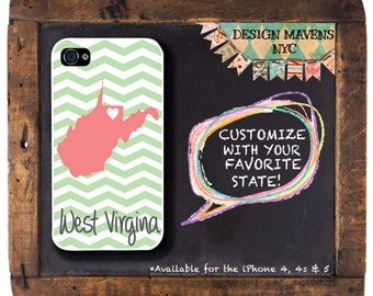 Personalized State iPhone Case, State Love West Virginia Chevron iPhone Case, iPhone 4, 4s, iPhone 5, 5s, 5c, iPhone 6, 6s, 6 Plus
