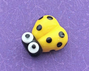 Yellow Glass Ladybug Bead, SRA Handmade Lampwork, about 14mm x 12mm with a 1.75mm hole - C