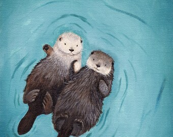 Otters Holding Hands Art Print - Otterly Romantic, perfect wedding gift, anniversary gift, gender neutral print of original otter painting