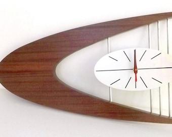 "21"" MID-CENTURY Danish Modern Boomerang Wall Clock Belart style"