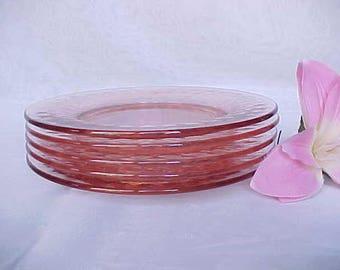 "Vintage Heisey Yeoman 7"" Salad Plates (5) In Flamingo Pink Glass, Diamond Optic Elegant Glassware of Depression Era, Rose Colored Desserts"