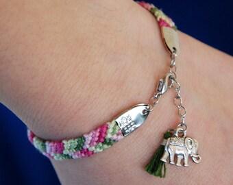 Lucky Elephant Bracelet, Green tassel, Pink chevron jewelry, Silver elephant charm, Protection amulet, Cotton fiber, Oriental teenage gift