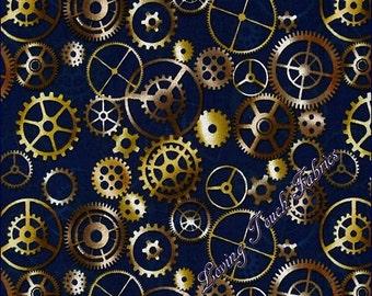 "Quilting Treasures & Dan Morris ""Timeless"" Clock Gears #24109-N  Cotton Fabric Priced Per 1/2 Yd."
