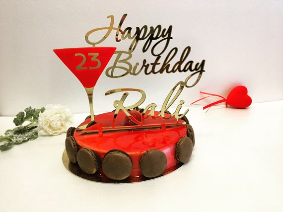 Cake Toppers Happy 23th Birthday Personalized Topper Custom Red Martini Glass Champagne Any Name Age 20th 30th 40th 50th Party Decoration
