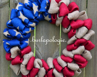 American Flag Burlap Wreath, Red White & Blue, Patriotic Burlap Wreath, Military Wreath, 4 of July Wreath, Choose your size! *2015 PATTERN*