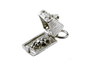 Sterling Silver Opening Greedy Mouse In Cheese Dish Charm For Bracelets