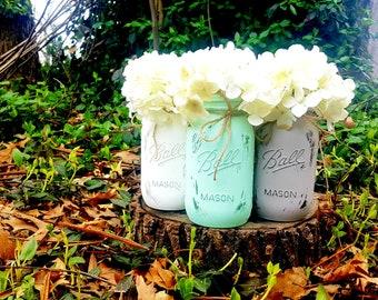 Set of 3 Quart Size Painted Ball Mason Jars.  Wedding Centerpieces. Graduation Decor. Mason Jar Decor. Painted Mason Jars. Distressed Jars.