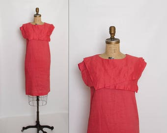 vintage 80s coral sack dress with middy collar by Cassidy