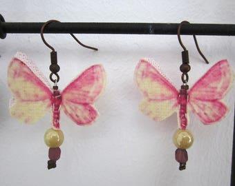 powder pink butterfly earrings