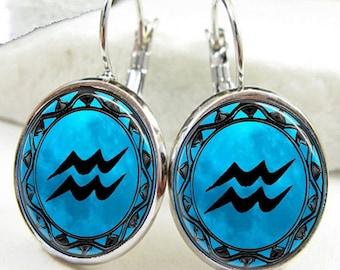 Aquarius Symbol Zodiac Earrings, Aquarius Horoscope Earrings (ER0463)