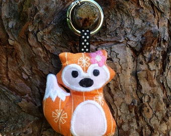 Handmade Fox Keyring, in multi coloured fabric, appliqued big eyes and tail, includes round stainless easy open carabiner style key ring