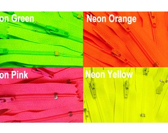 3 Inches to  22 Inches Neon Colors YKK Zippers-WHOLESALE Number 3 Nylon Coil Closed Bottom (10 each color) - Select Length and Color
